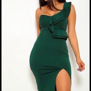 Hunter Green One Shoulder Slit Dress